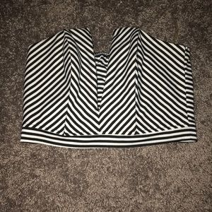 Black and White Striped Deep V Crop